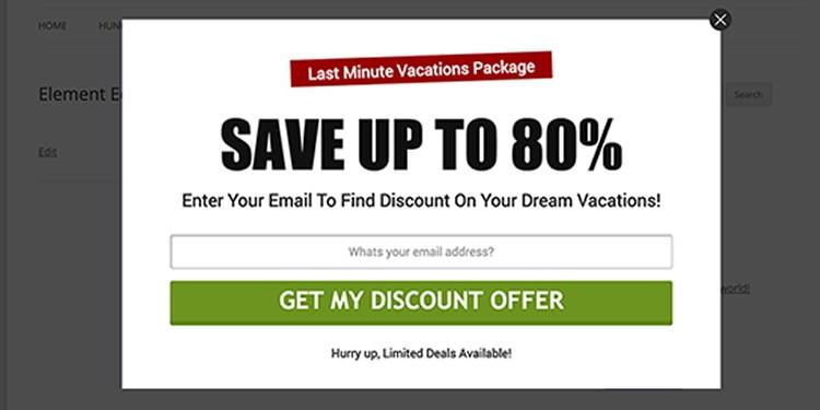 pop up offer